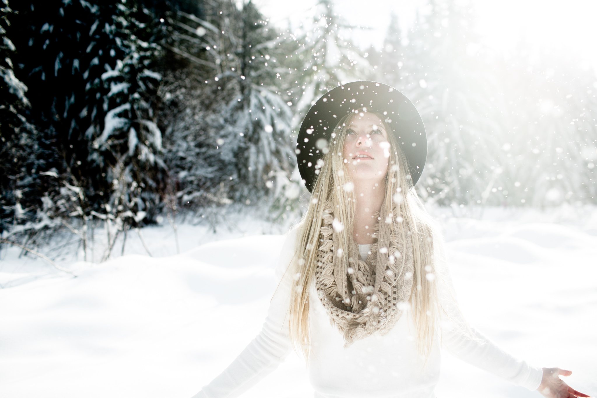 winter portraits with falling snow