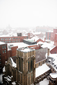 View of downtown Portland Maine snowing in the winter.