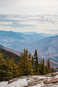 View from snowy Mount Crawford in The White Mountain National Forest.