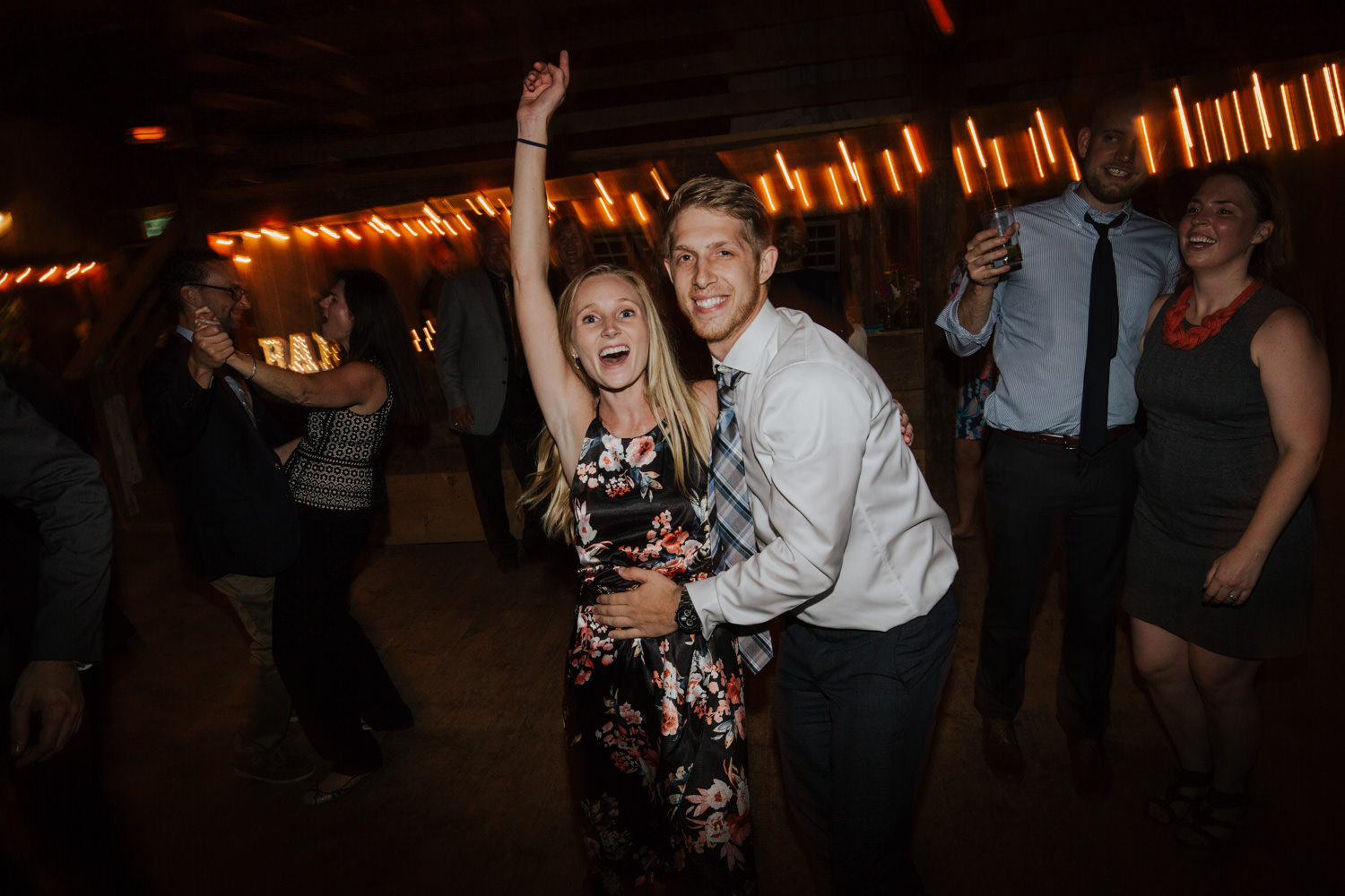 couple married at a barn wedding in Maine