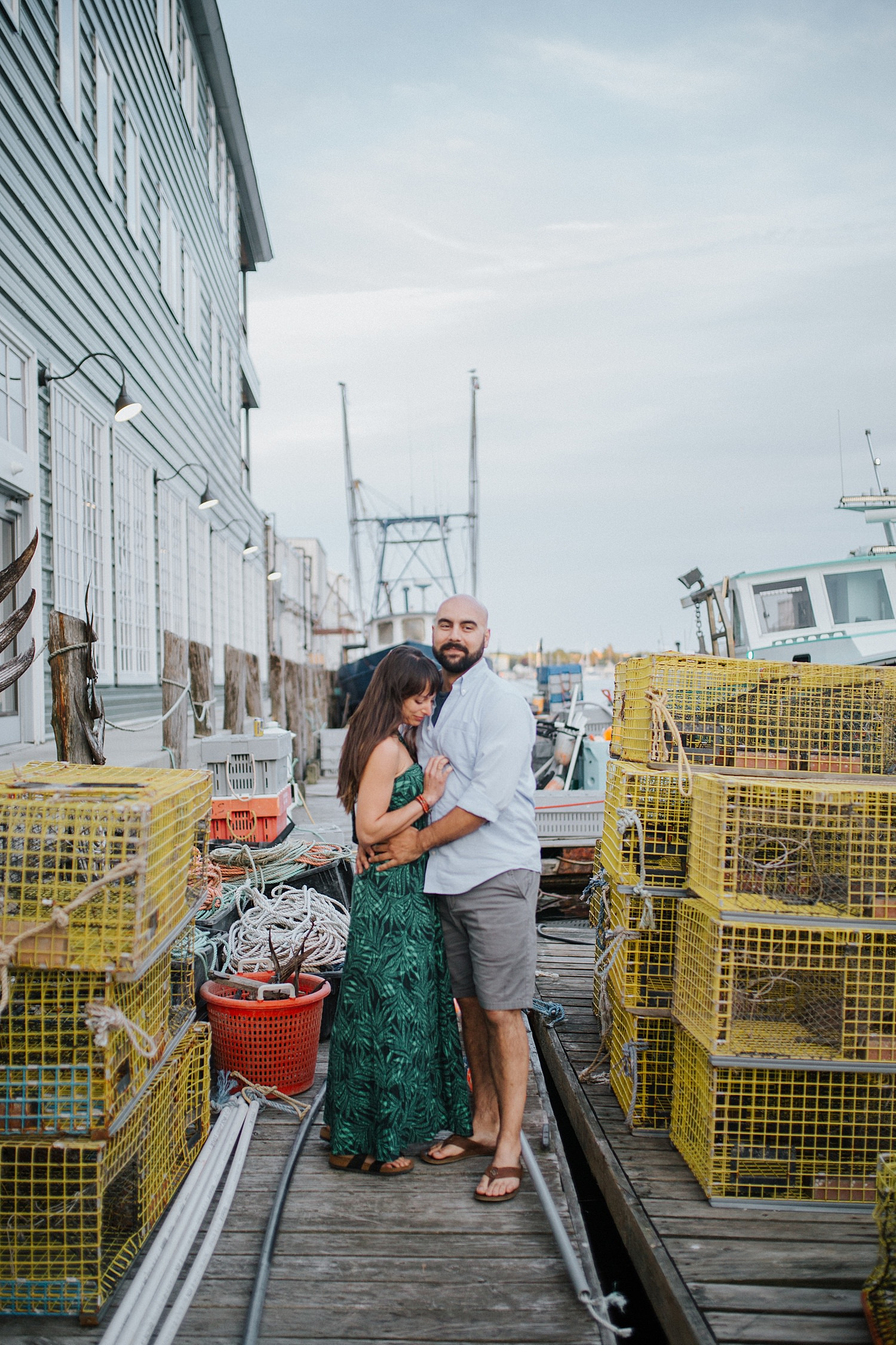 boat,couple,cruise,engagement,harbor,lobster traps,maine,martha's vineyard,new england,newport,portland,portrait,summer,sunset,