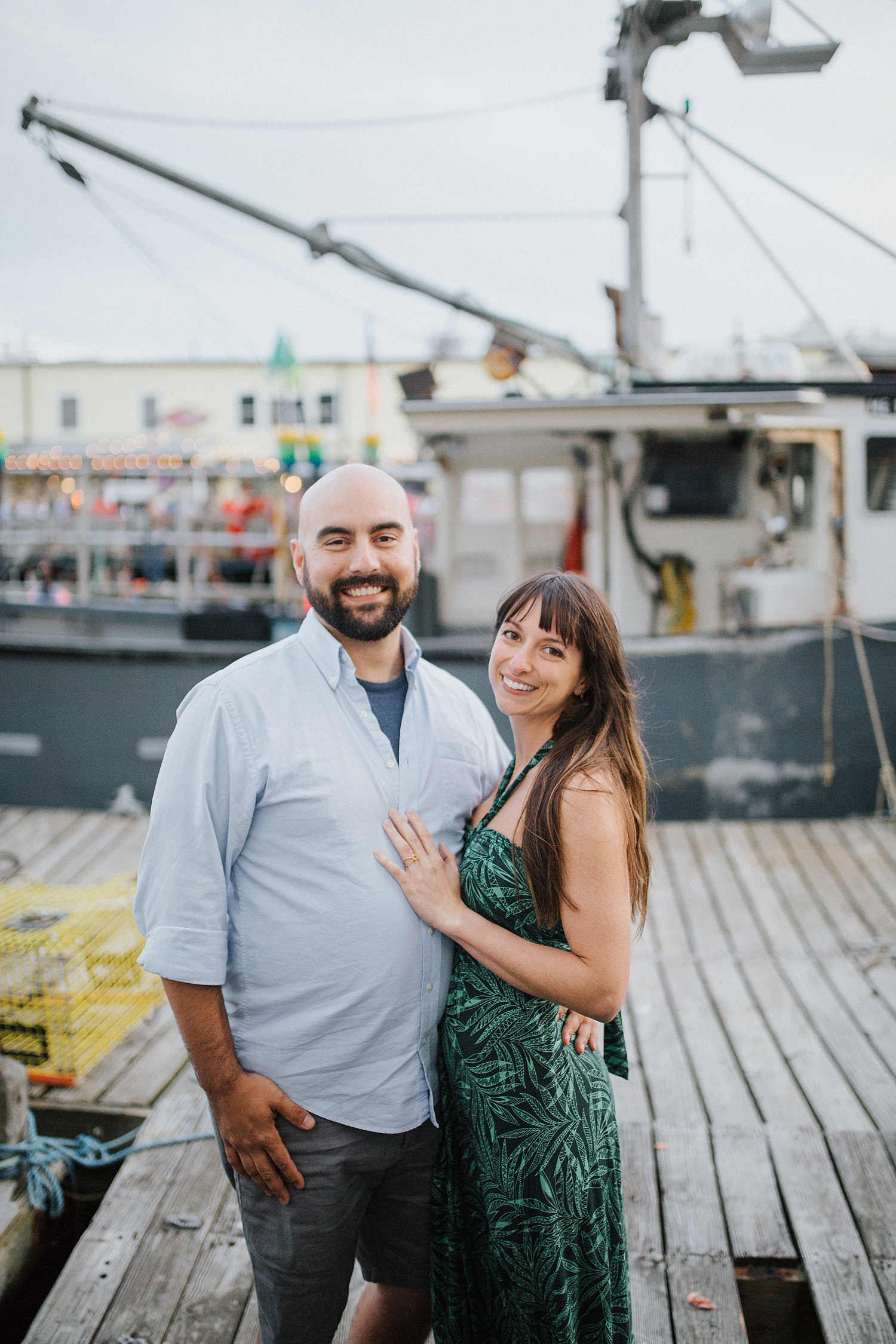boat,couple,cruise,engagement,fishing boats,harbor,maine,martha's vineyard,new england,newport,portland,portrait,summer,sunset,